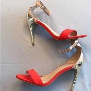 ZARA Sz 8 Combination Red-Coral High Heel Sandals
